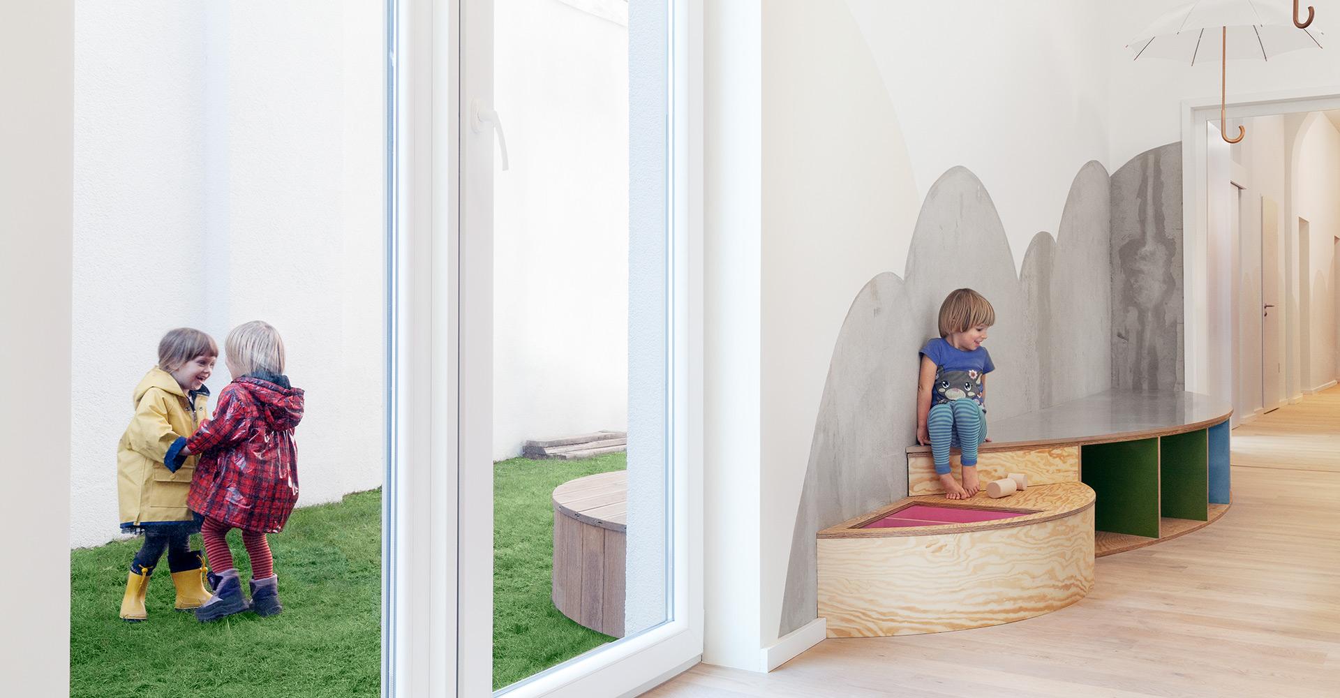 kita unterm regenschirm baukind architekten. Black Bedroom Furniture Sets. Home Design Ideas