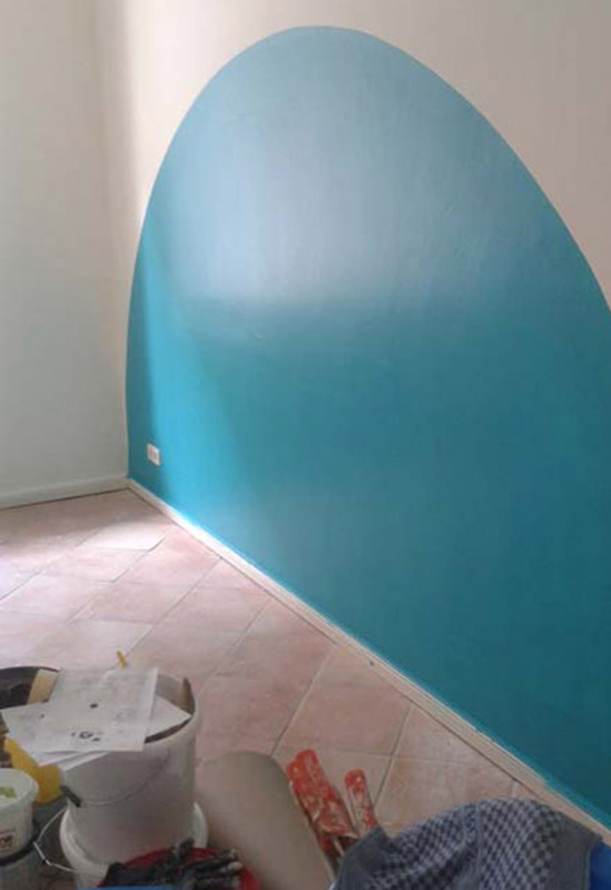 baukind Kita Spreesprotten blaue Wandgestaltung