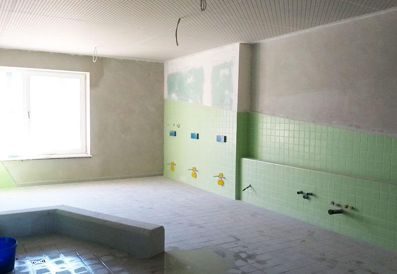 baukind Kita Grashüpfer Innenraum Kinder-Bad Rohbau